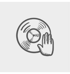 Vinyl disc with dj hand sketch icon vector