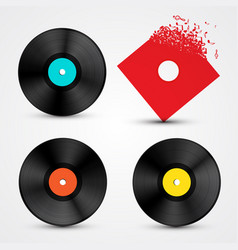 Vinyl lp discs set retro music objects vector