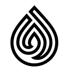 water drop symbol black sign for logo vector image