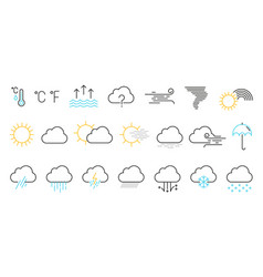 weather icons set isolated on a white background vector image