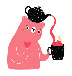with cute pink bear holding teapot heart and cup vector image