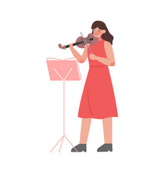 woman musician playing violin classical music vector image