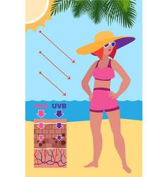 Woman take sunbathing concept banner cartoon vector
