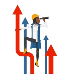 Woman with spyglass on rising arrow vector image