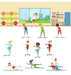 Women In Fitness Club Doing Different Workout vector