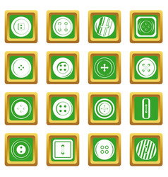 clothes button icons set green vector image