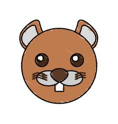 Cute beaver drawing animal vector