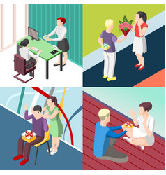 people with gifts isometric concept vector image vector image