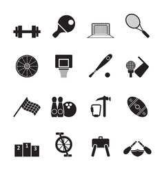 Silhouette Sports gear and tools vector image