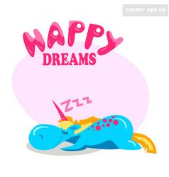 unny sleeping unicorn vector image