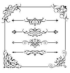 Vintage frame border divider corner vector