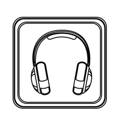 contour emblem headphone service icon vector image