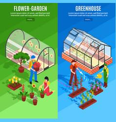 greenhouse vertical banner set vector image