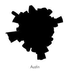Planet Austin circular silhouette skyline vector image vector image