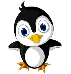 cute baby penguin cartoon posing vector image