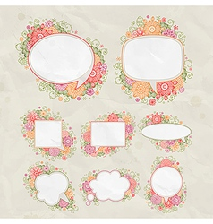 drawn floral bubbles vector image