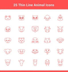 Set of Thin Line Stroke Animal Icons vector image