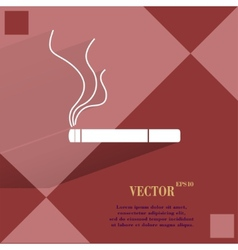 Smoking sign cigarette Flat modern web button on a vector image vector image