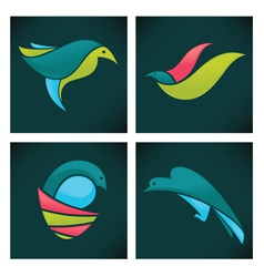 birds icons vector image vector image
