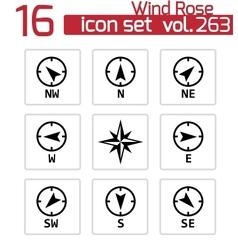 Black wind rose icons set vector