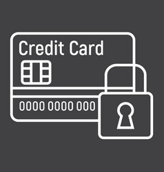 Credit card with padlock line icon protection vector