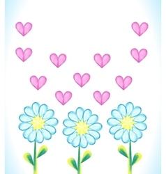 Watercolor daisies and hearts vector image