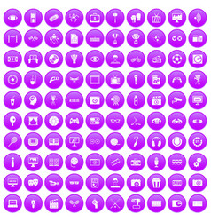 100 video icons set purple vector image