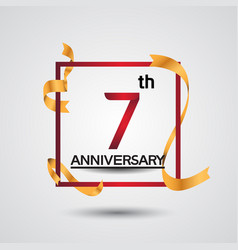 7 anniversary design with red color in square vector