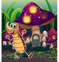 A cockroach near the violet mushroom house vector image
