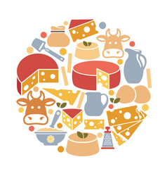 a set of images on the theme of cheese in the vector image