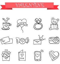 Art of valentine with hand draw vector