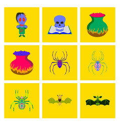 assembly flat halloween monster spider book skull vector image