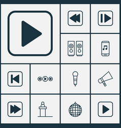 Audio icons set collection of following song vector