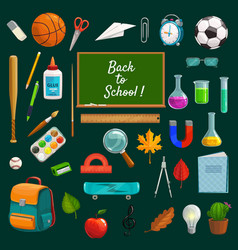 Back to school lettering on blackboard stationery vector