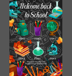 Back to school sale banner with study stationery vector