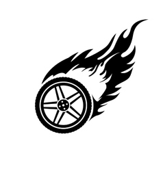 Black and white burning car wheel vector