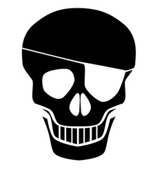 Black skull silhouette with eye patch vector