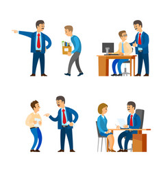 Boss professional director interacting workers vector