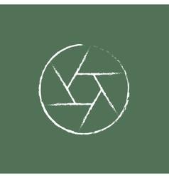 Camera shutter icon drawn in chalk vector image