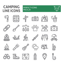 Camping line icon set hiking symbols collection vector