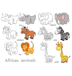 cartoon african animals outline and colored vector image