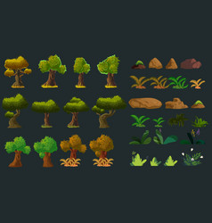 cartoon nature elements set for you design vector image