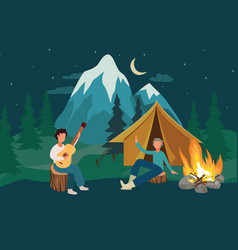 cartoon people at camping leisure with yellow tent vector image
