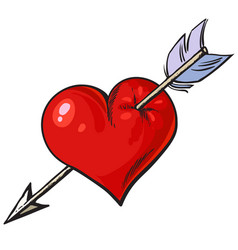 Cartoon red heart pierced by an arrow vector