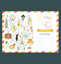 chicago card with symbols objects and landmarks vector image
