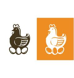 Chicken with eggs hen symbol or logo vector