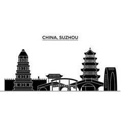 china suzhou architecture urban skyline with vector image