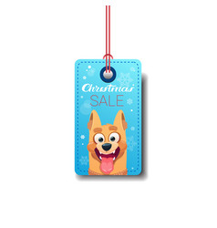 Christmas sale tag with dog holiday discount vector