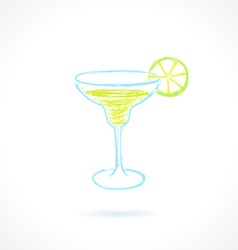 Classic margarita cocktail with lime Ink vector