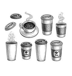 Coffee and tea big set vector